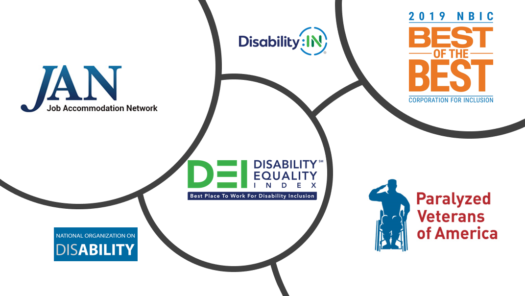 Organizational recognitions and affiliations: Job Accommodation Network (JAN), Disability IN, Disability Equality Index (DEI), 2019 National Business Inclusion Consortium (NBIC), National Organization on Disability (NOD), Paralyzed Veterans of America (PVA)